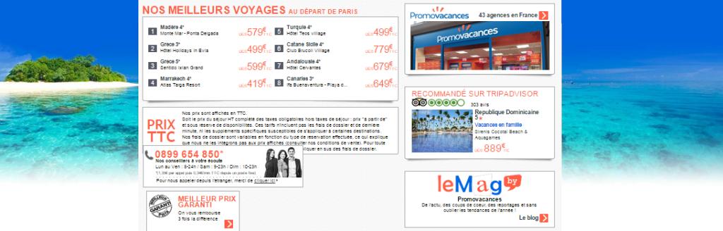 Exemple de lien sponsorisé pour Trip Advisor sur le site Promovacances