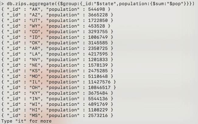 MongoDB: Agrégation - zip-aggregate-sum