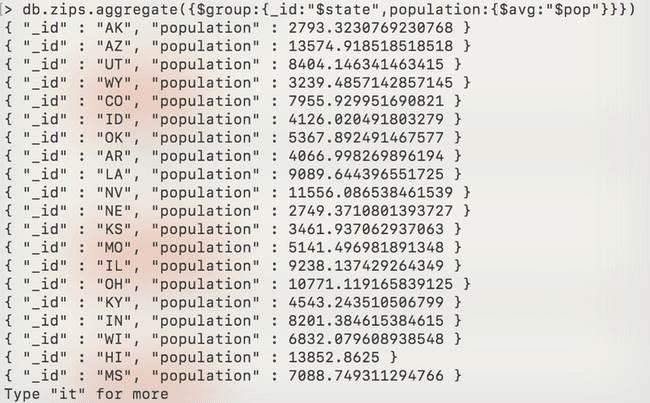 MongoDB: Agrégation - zip-aggregate-avg