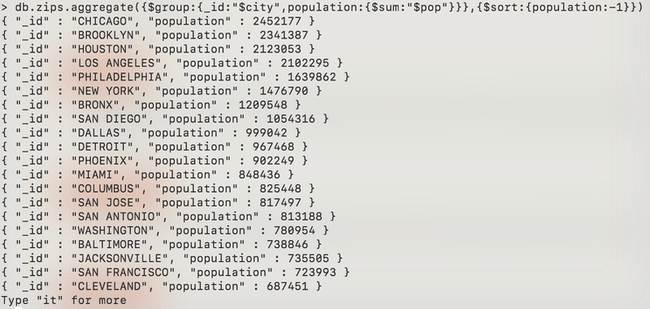 MongoDB: Agrégation - zip-aggregate-sum-sort