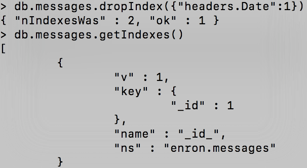 [Tutoriel] MongoDB : Indexation et performance - enron-dropIndex6