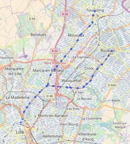 Carte du réseau tramway Lille – Roubaix et Lille – Tourcoing