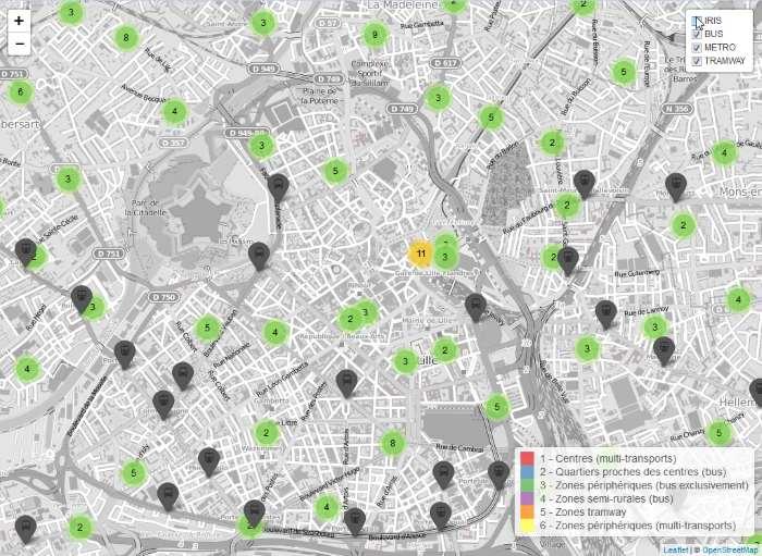 Carte interactive - Densité de transports en communs dans la métropole lilloise