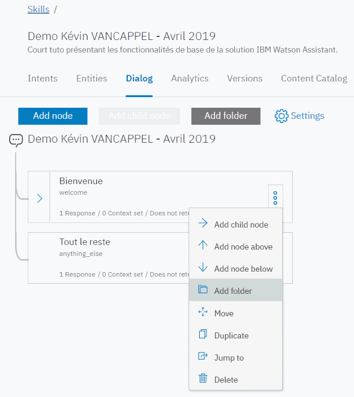 IBM Watson Assistant - Add Folder for #search_of_t-shirts