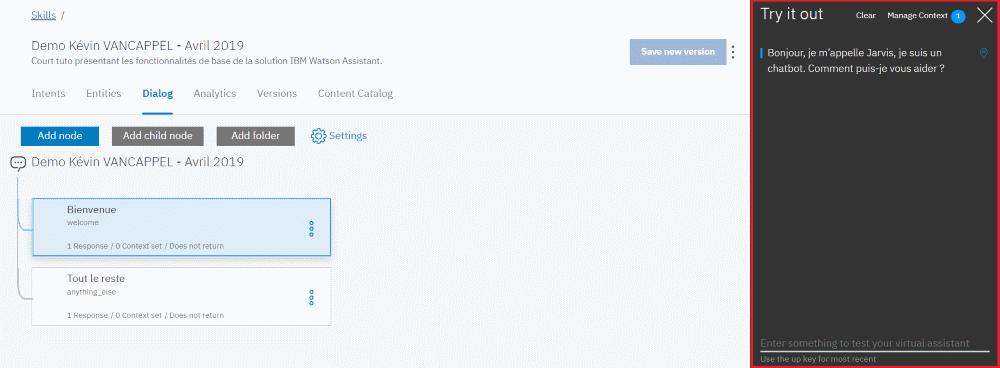 IBM Watson Assistant - Test